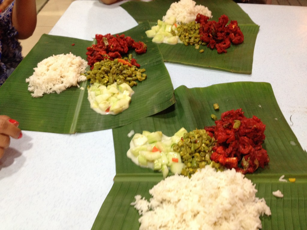 Vegetable curries served on banana leaf - Inexpensive and very tasty